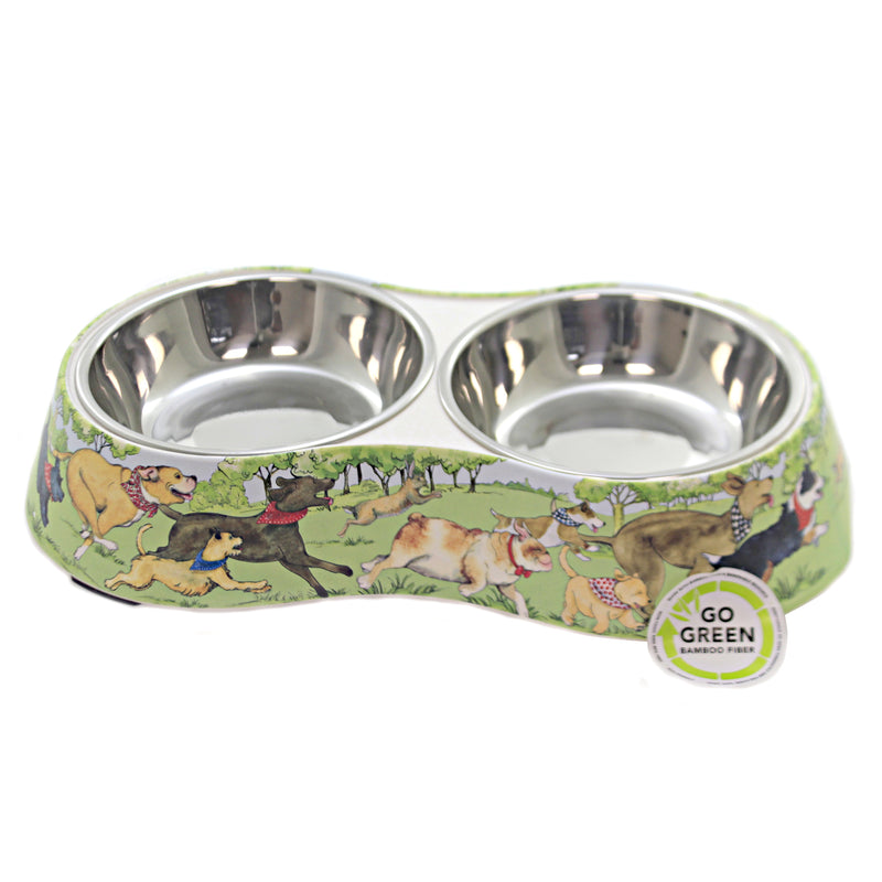 Dog Park Bamboo Pet Double Bowl 28262 Animal Pet Lover Gifts - SBKGIFTS.COM - SBK Gifts Christmas Shop Cincinnati - Story Book Kids