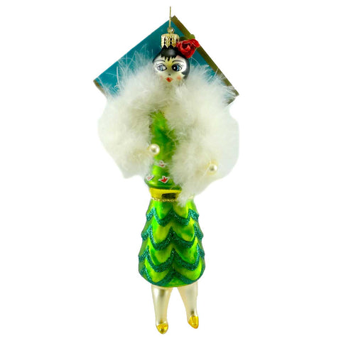 Christopher Radko FLORIDA FLAPPER Blown Glass Ornament Italian 449