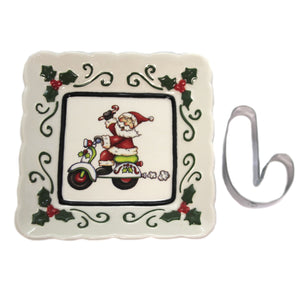 Santa On Scooter Square Dish 10659 Tabletop Plates And Platters - SBKGIFTS.COM - SBK Gifts Christmas Shop Cincinnati - Story Book Kids