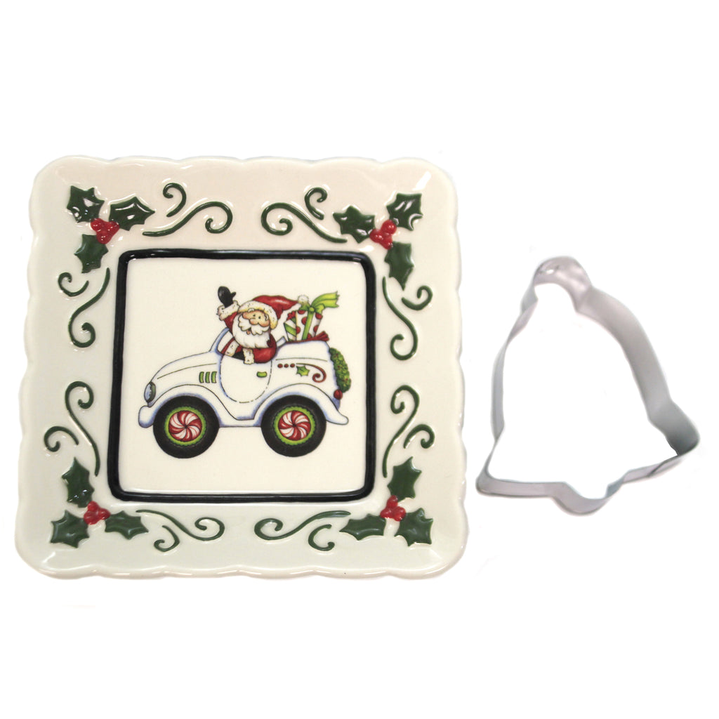 Santa In Auto Square Dish 10657 Tabletop Plates And Platters - SBKGIFTS.COM - SBK Gifts Christmas Shop Cincinnati - Story Book Kids