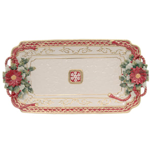Poinsetta Tray 10293 Tabletop Plates And Platters - SBKGIFTS.COM - SBK Gifts Christmas Shop Cincinnati - Story Book Kids