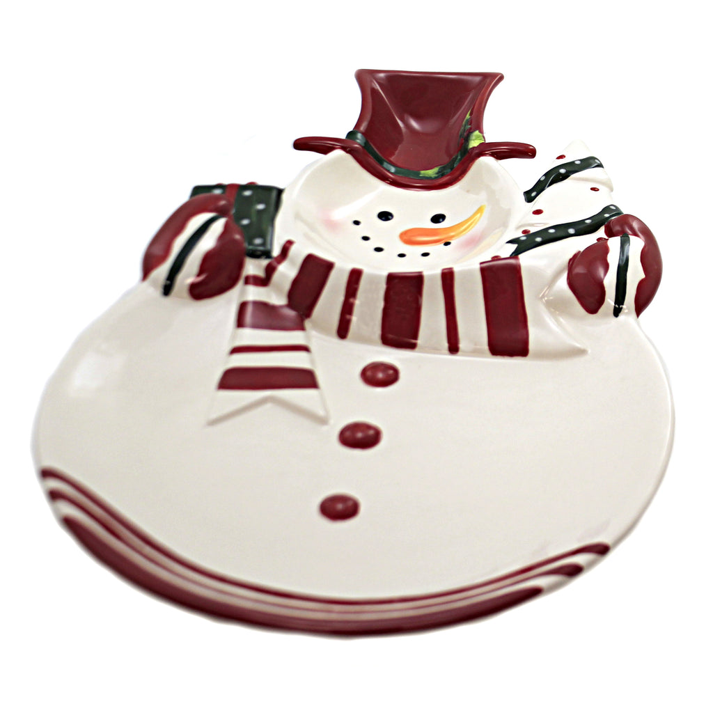 Snowman Serving Platter 61004. Tabletop Plates And Platters - SBKGIFTS.COM - SBK Gifts Christmas Shop Cincinnati - Story Book Kids