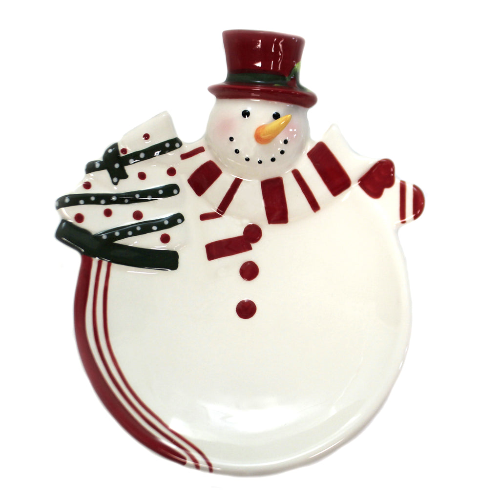 Snowman Plate With Tree 61008 Tabletop Plates And Platters - SBKGIFTS.COM - SBK Gifts Christmas Shop Cincinnati - Story Book Kids
