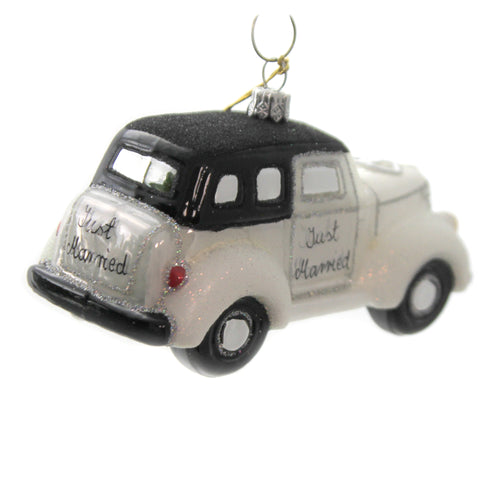 Just Married Car 065315 Glass Ornaments - SBKGIFTS.COM - SBK Gifts Christmas Shop Cincinnati - Story Book Kids