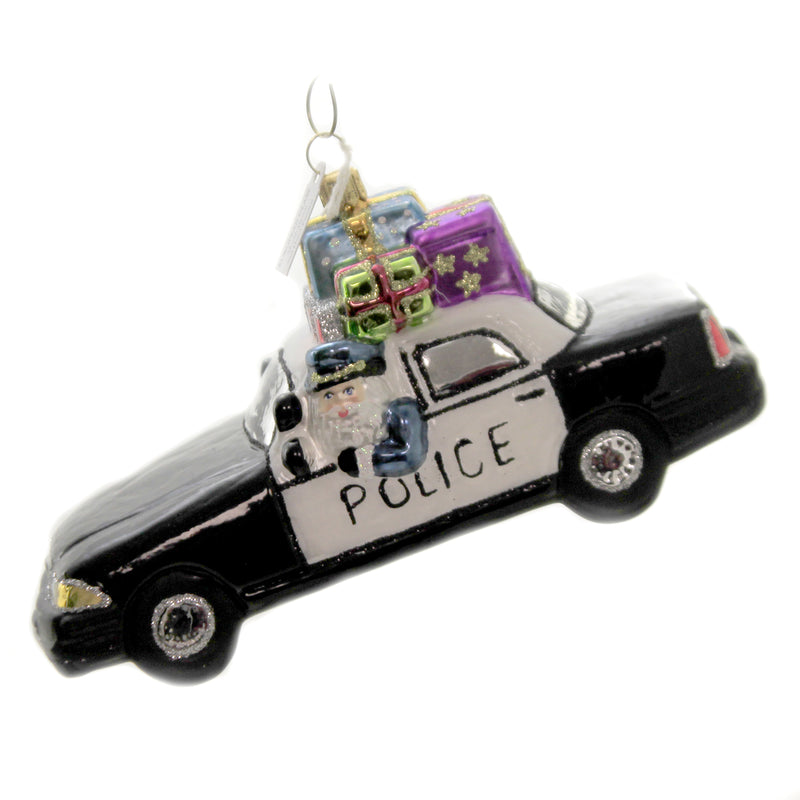Santa In Police Car S793 Glass Ornaments - SBKGIFTS.COM - SBK Gifts Christmas Shop Cincinnati - Story Book Kids