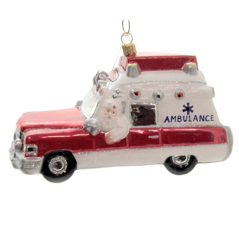 Santa Driving Ambulance S810 Glass Ornaments - SBKGIFTS.COM - SBK Gifts Christmas Shop Cincinnati - Story Book Kids