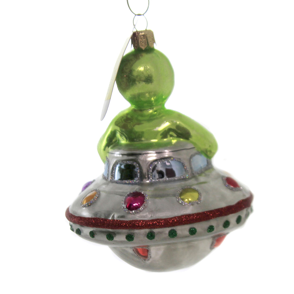 Alien Riding Ufo 2117 Glass Ornaments - SBKGIFTS.COM - SBK Gifts Christmas Shop Cincinnati - Story Book Kids