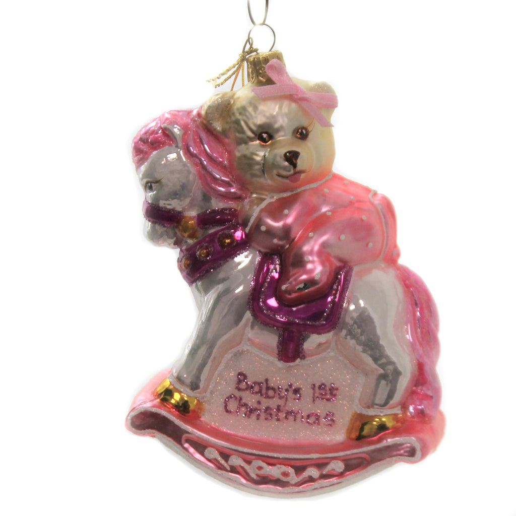 Teddy On Rocking Horse 1913 Pink Glass Ornaments - SBKGIFTS.COM - SBK Gifts Christmas Shop Cincinnati - Story Book Kids