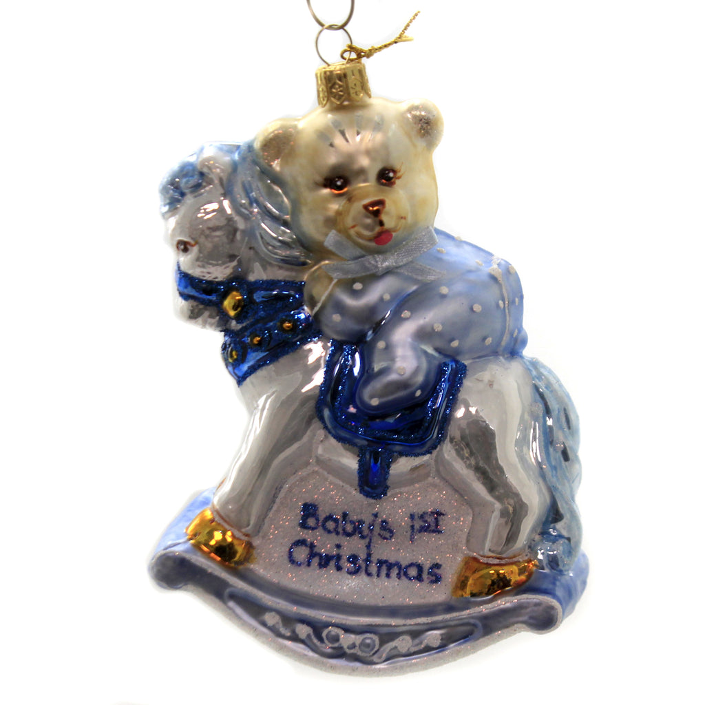 Teddy On Rocking Horse 1913 Blue Glass Ornaments - SBKGIFTS.COM - SBK Gifts Christmas Shop Cincinnati - Story Book Kids