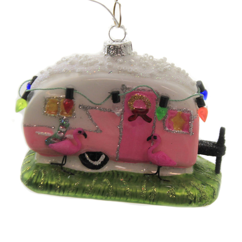 Flamingo Camper Go2735 Glass Ornaments - SBKGIFTS.COM - SBK Gifts Christmas Shop Cincinnati - Story Book Kids