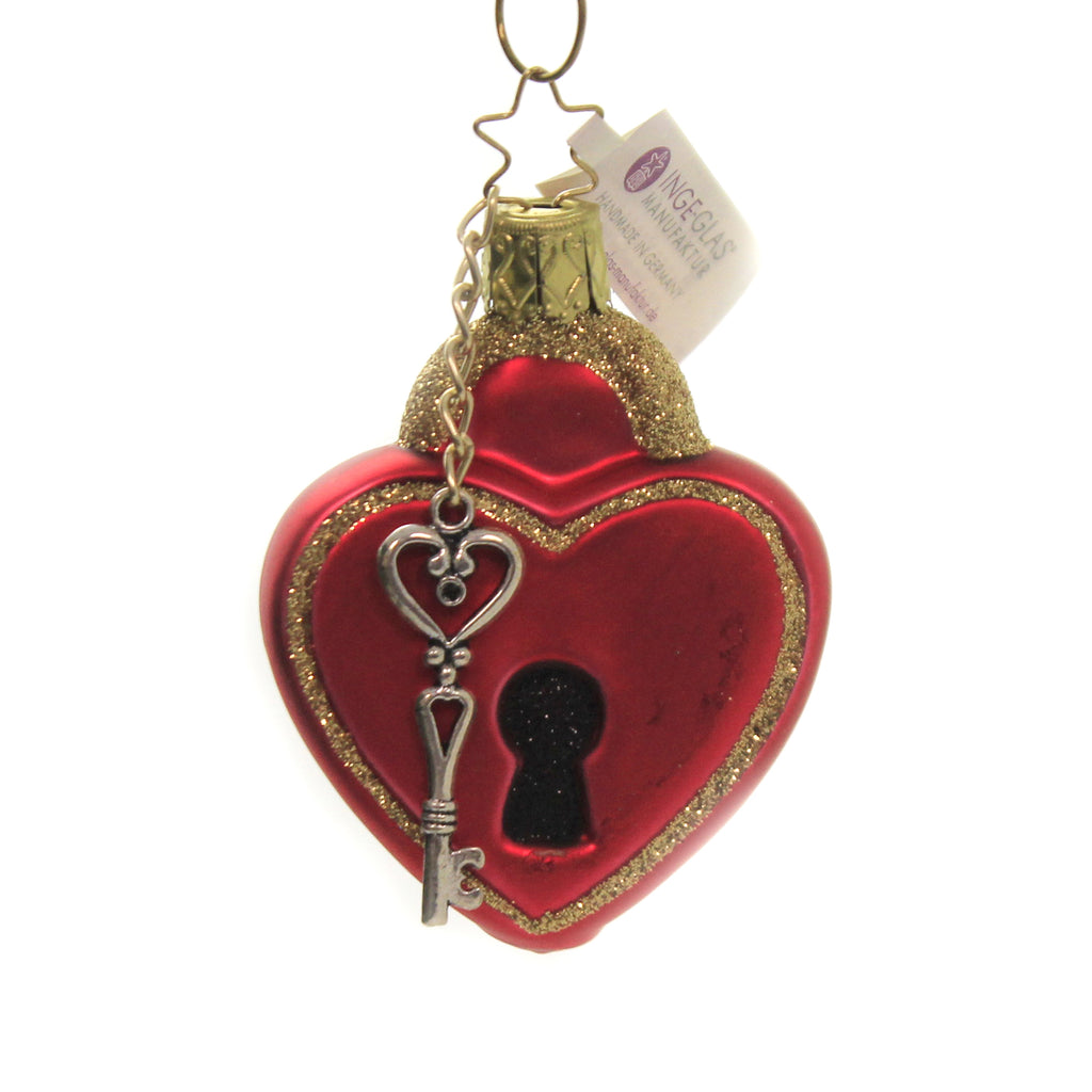 Key To My Heart 10139S020 Inge Glas Glass Ornaments - SBKGIFTS.COM - SBK Gifts Christmas Shop Cincinnati - Story Book Kids