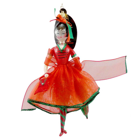 Christopher Radko CRIMSON STROLLER Blown Glass Ornament Italian Christmas Girl 455