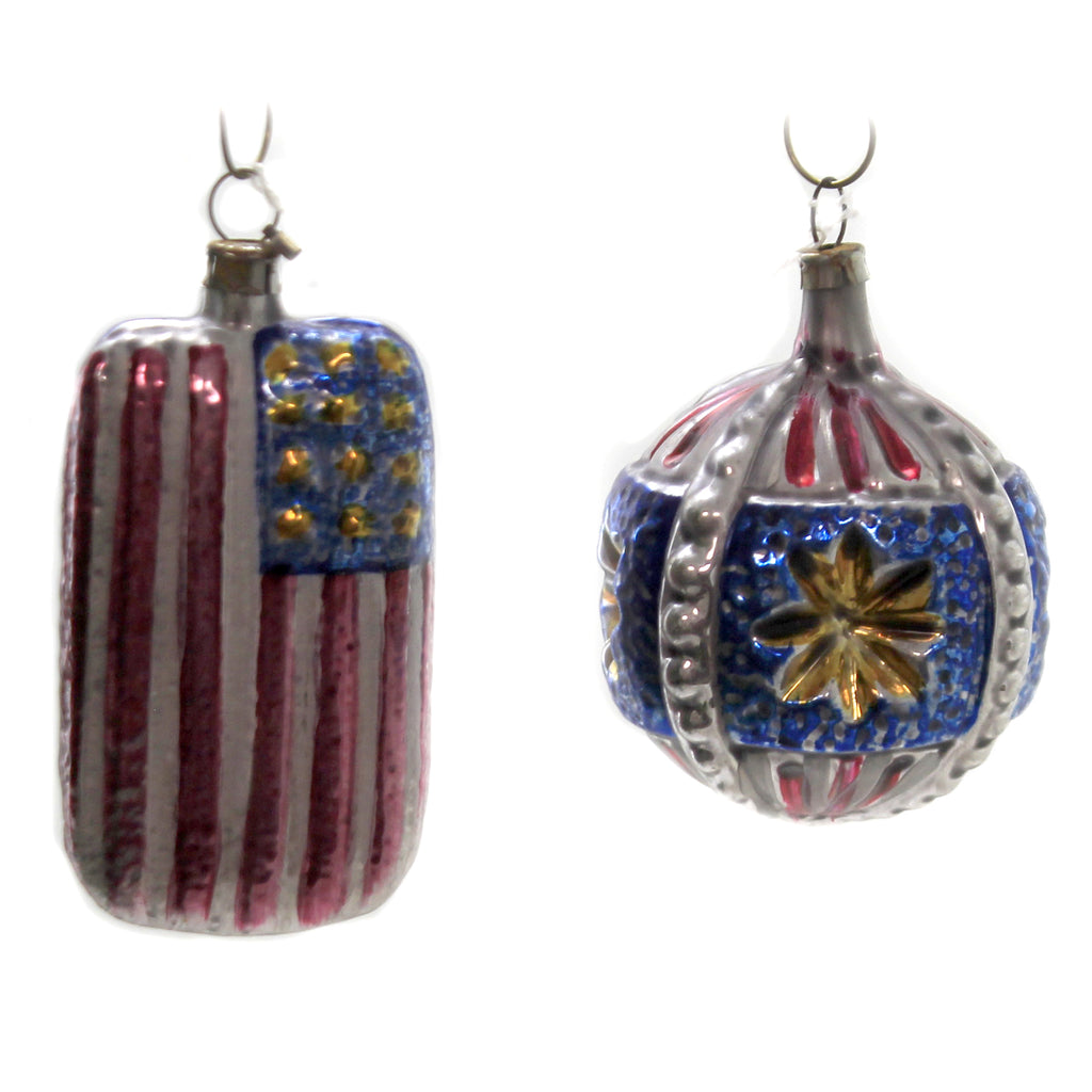 Americana Flag & Ball Set/2 Nc6303  / Nc6275 Patriotic Glass Ornaments - SBKGIFTS.COM - SBK Gifts Christmas Shop Cincinnati - Story Book Kids