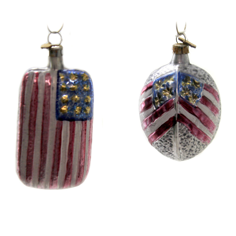 Americana Flag & Oval Set/2 Nc6303 / Nc6274 Patriotic Glass Ornaments - SBKGIFTS.COM - SBK Gifts Christmas Shop Cincinnati - Story Book Kids