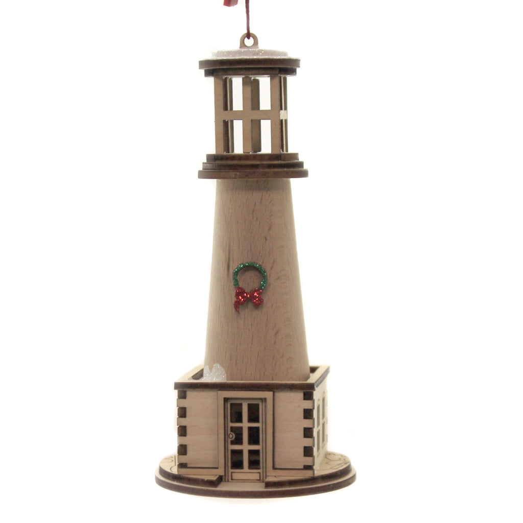 Holiday Lighthouse 80017 Ginger Cottages Wood Ornaments - SBKGIFTS.COM - SBK Gifts Christmas Shop Cincinnati - Story Book Kids