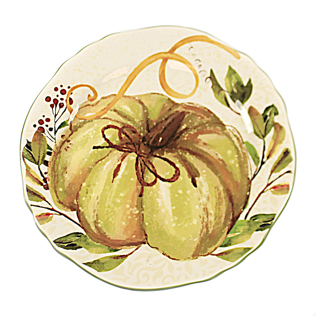 Tabletop Pumpkin And Leaf Plate Thanksgiving Scalloped Edge - 41055E