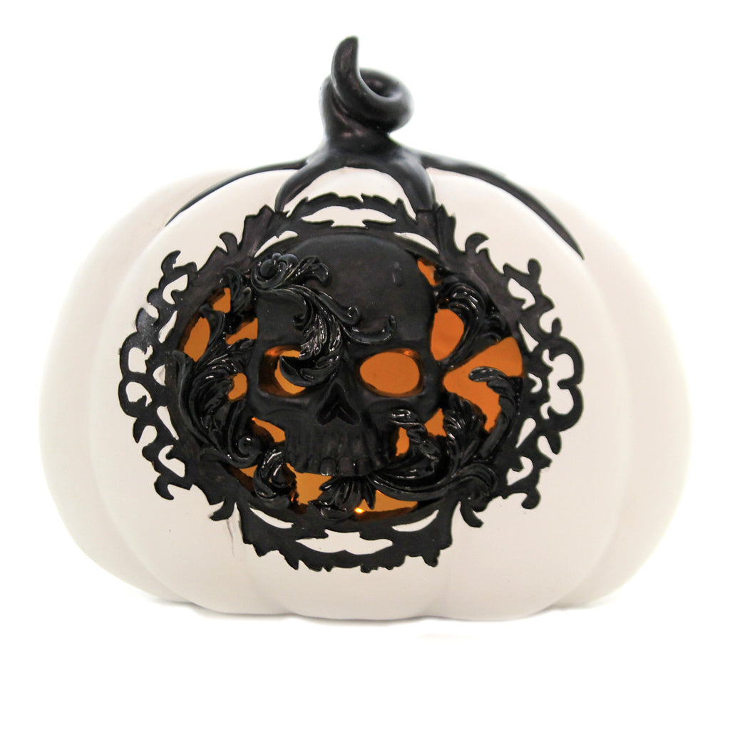White/Black Pumpkin 41586A Halloween Lighted Decor - SBKGIFTS.COM - SBK Gifts Christmas Shop Cincinnati - Story Book Kids