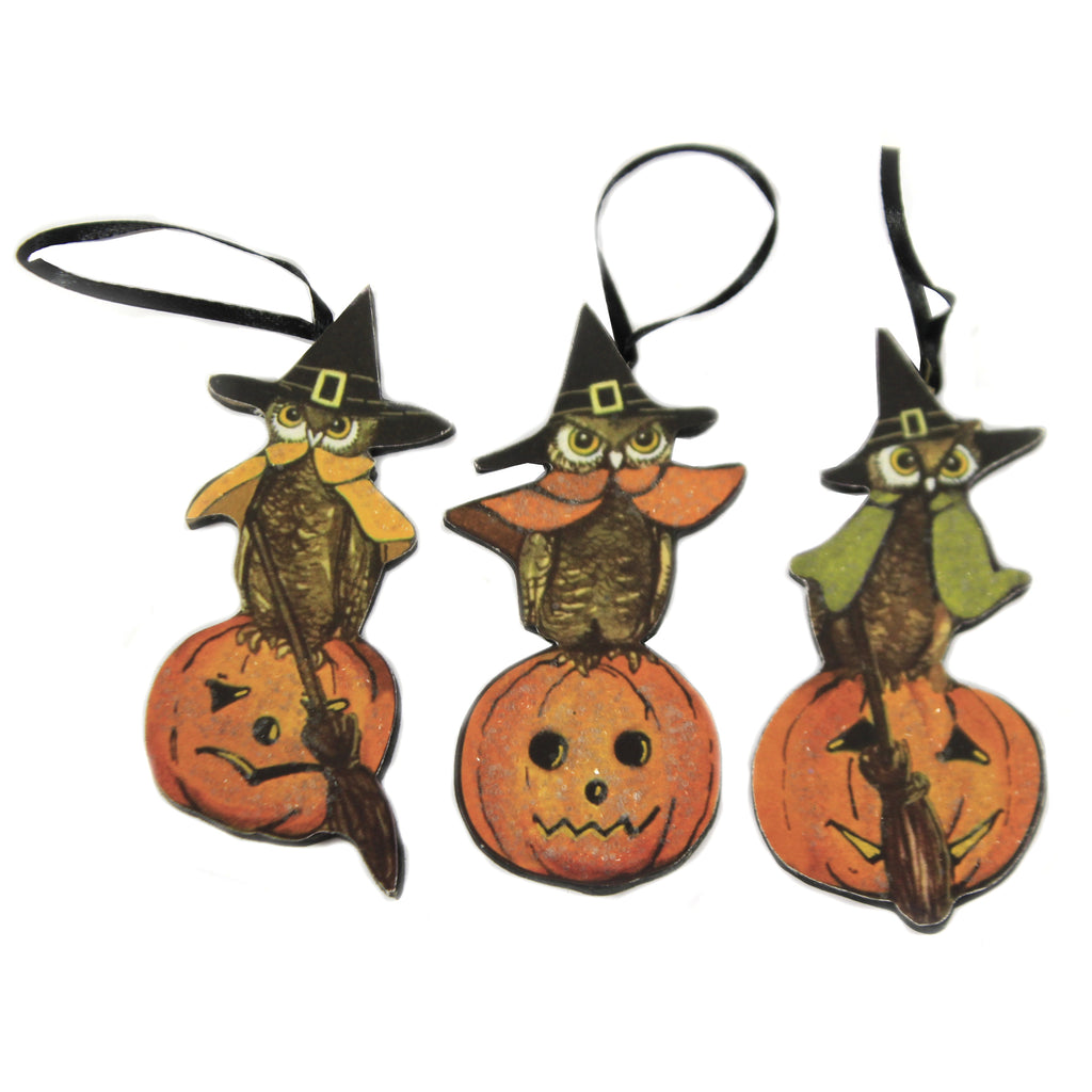 3 Witch Owls Dummy Board Set/3 Rl8994 Halloween Wood Ornaments - SBKGIFTS.COM - SBK Gifts Christmas Shop Cincinnati - Story Book Kids