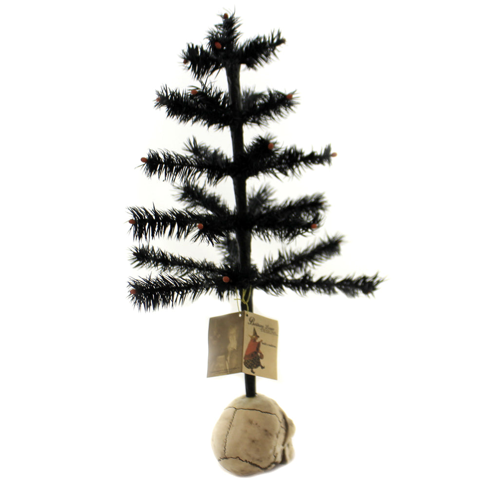 Black Feather Tree W/Skull Lg3385 Halloween Bottle Brush Trees And Feather Trees And Tinsel Trees And Decorative Trees - SBKGIFTS.COM - SBK Gifts Christmas Shop Cincinnati - Story Book Kids