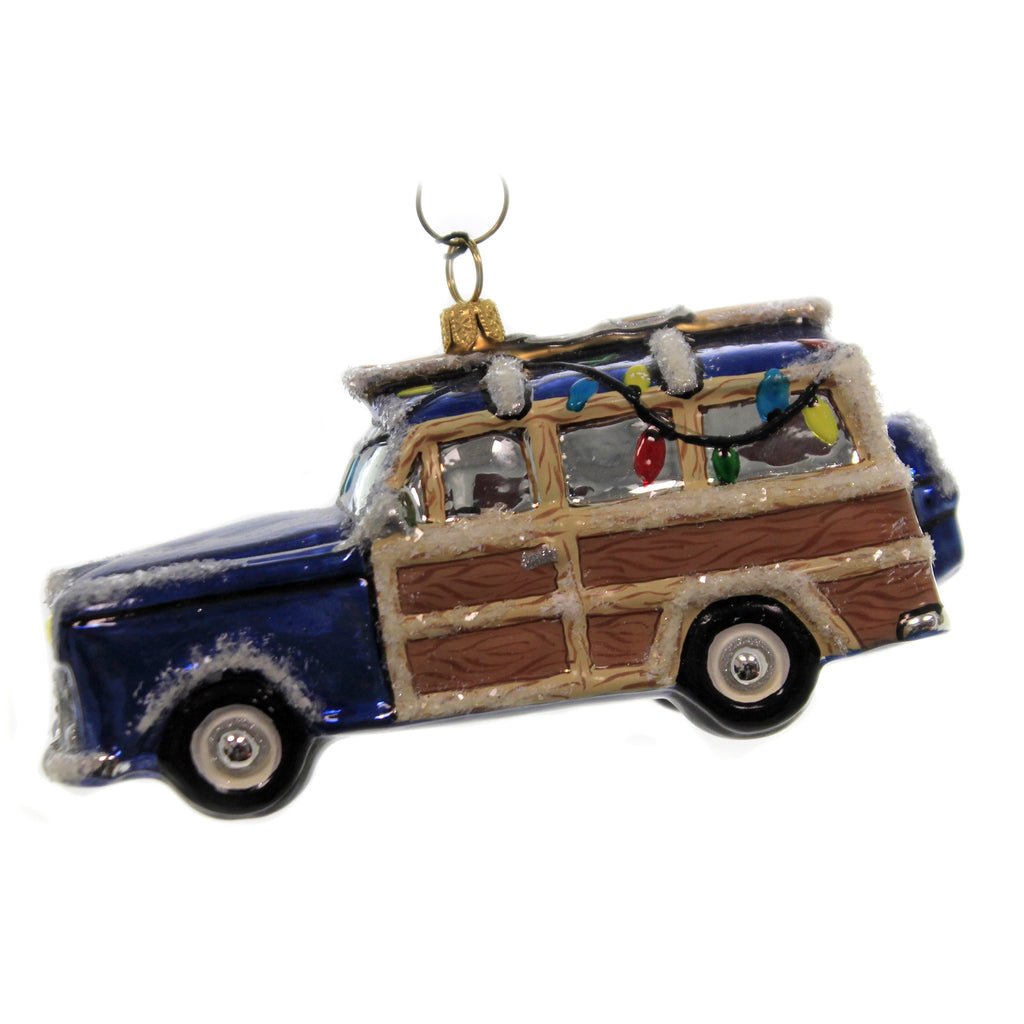 Woody Car With Skis Zkp4442 Joy To The World Glass Ornaments - SBKGIFTS.COM - SBK Gifts Christmas Shop Cincinnati - Story Book Kids