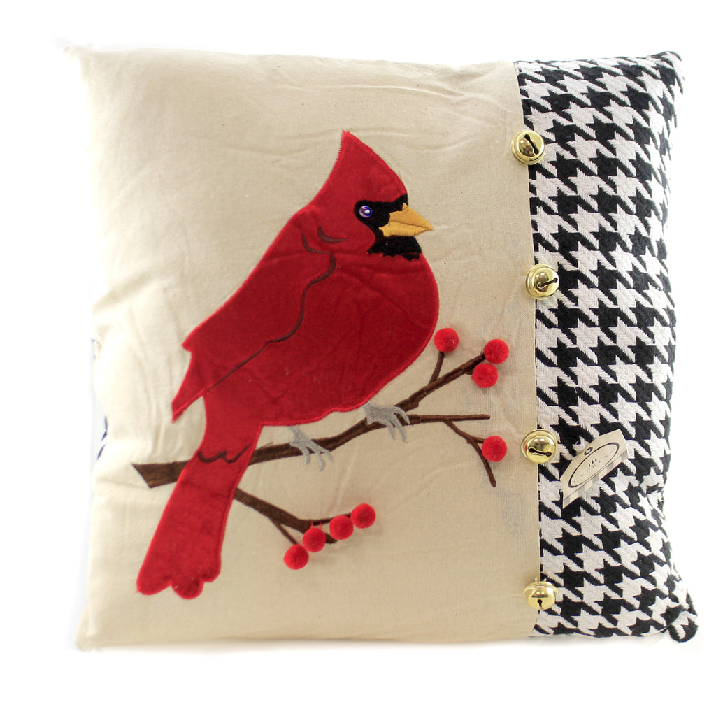 Cardinal Houndstooth Pillow 4P20904 Home Decor Decorative Pillows - SBKGIFTS.COM - SBK Gifts Christmas Shop Cincinnati - Story Book Kids