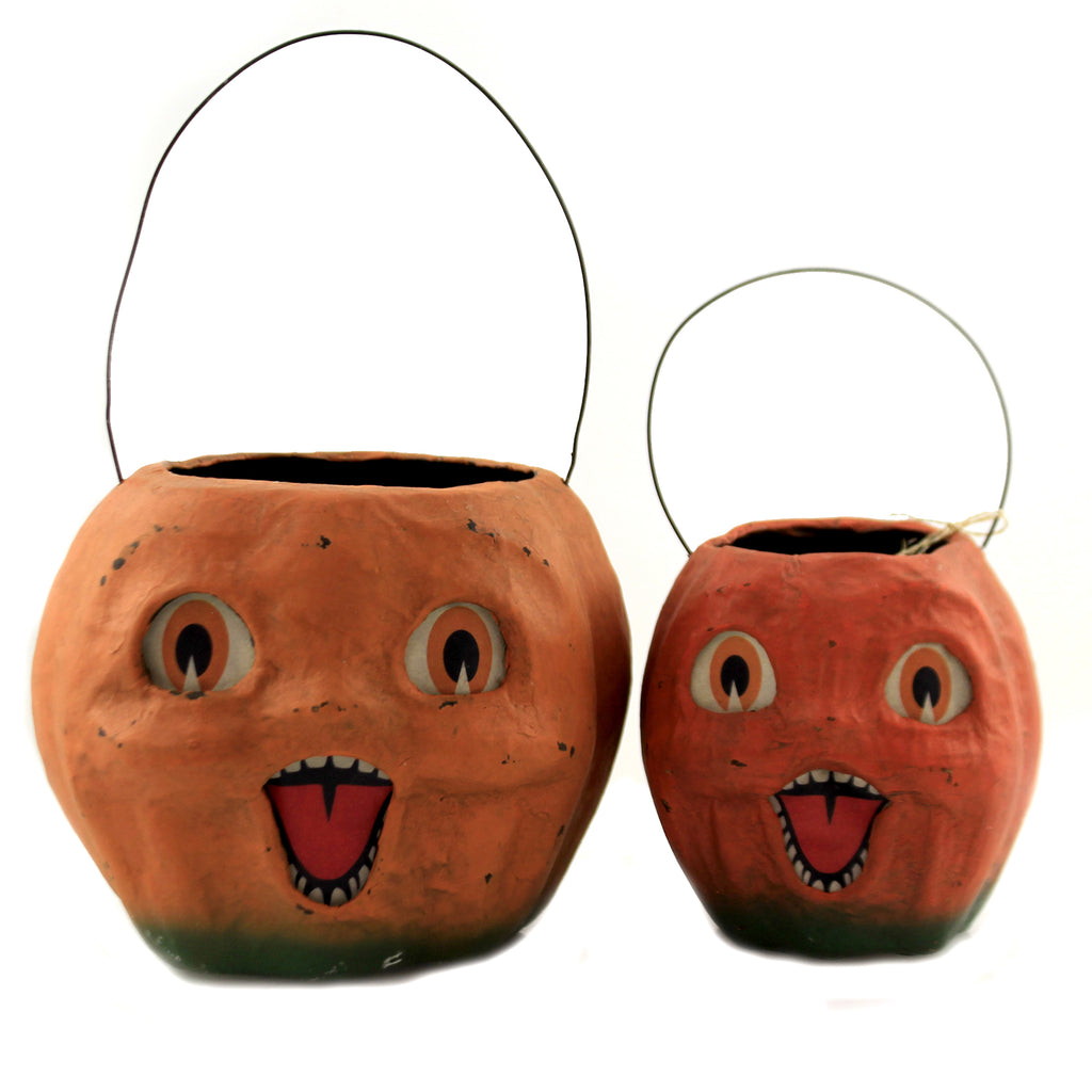 Vintage Pumpkin Buckets Set/2 Tj2411*Tj2413 Halloween Home Decor - SBKGIFTS.COM - SBK Gifts Christmas Shop Cincinnati - Story Book Kids