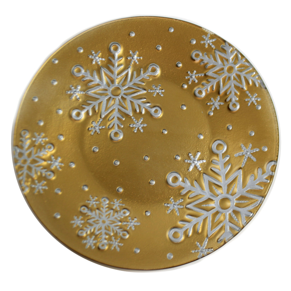 Gold Snowflake Platter Xm1019 Tabletop Plates And Platters - SBKGIFTS.COM - SBK Gifts Christmas Shop Cincinnati - Story Book Kids