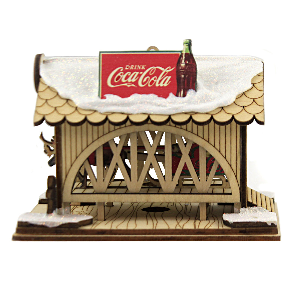 Covered Bridge Coca Cola 84003 Ginger Cottages Wood Ornaments - SBKGIFTS.COM - SBK Gifts Christmas Shop Cincinnati - Story Book Kids