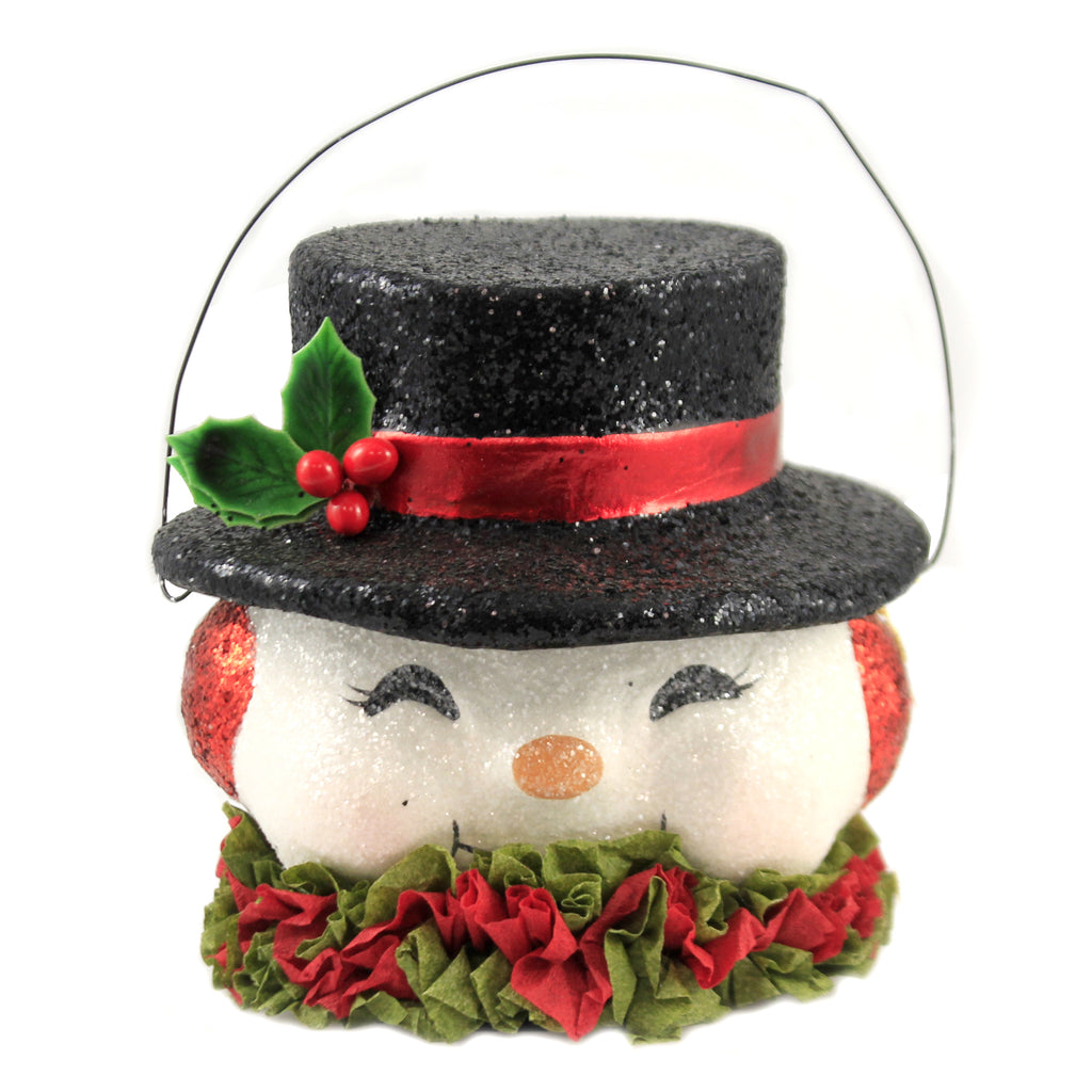 Happy Retro Snowman Bucket Tl9412 Christmas Figurines - SBKGIFTS.COM - SBK Gifts Christmas Shop Cincinnati - Story Book Kids
