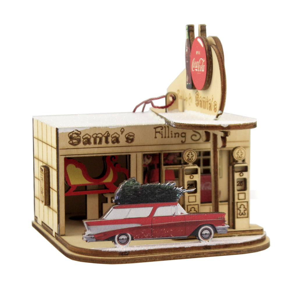 Cottage Gas Station Coca Cola 84005 Ginger Cottages Wood Ornaments - SBKGIFTS.COM - SBK Gifts Christmas Shop Cincinnati - Story Book Kids