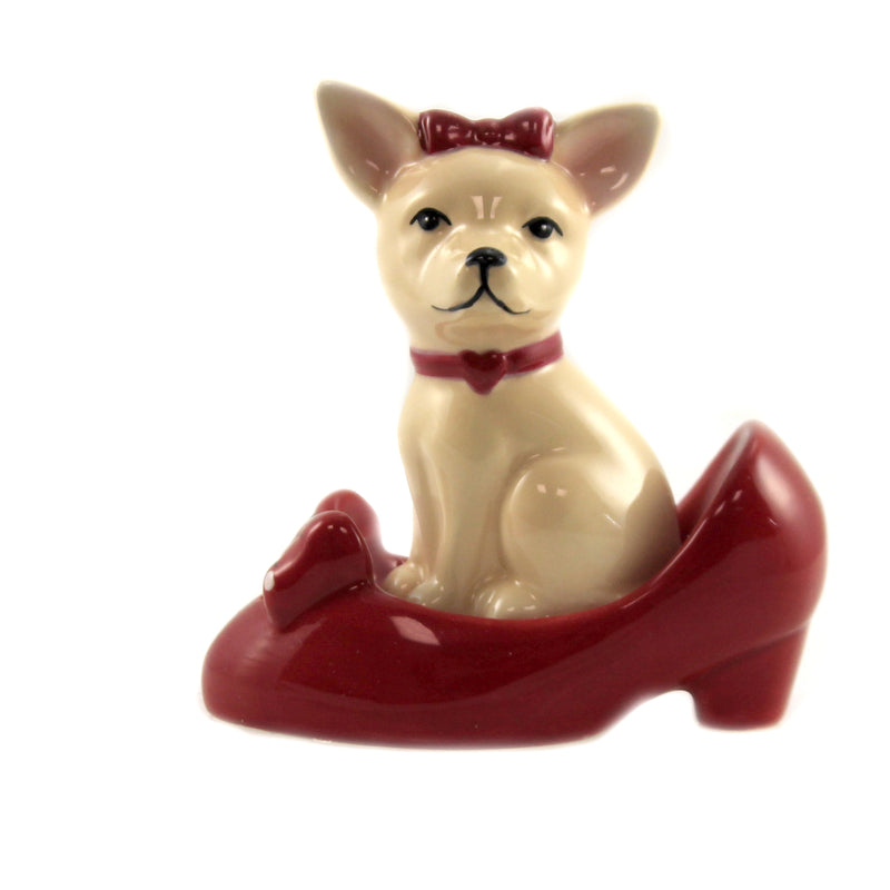 Chihuahua In Red Shoe 8593 Tabletop Salt And Pepper Shakers - SBKGIFTS.COM - SBK Gifts Christmas Shop Cincinnati - Story Book Kids