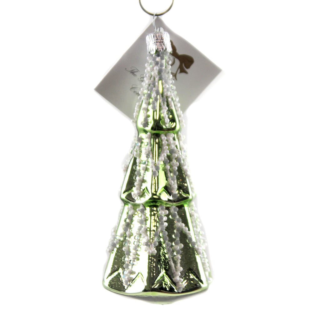Green Tree  W/  White Pearling Nm746 Golden Bell Collection Glass Ornaments - SBKGIFTS.COM - SBK Gifts Christmas Shop Cincinnati - Story Book Kids