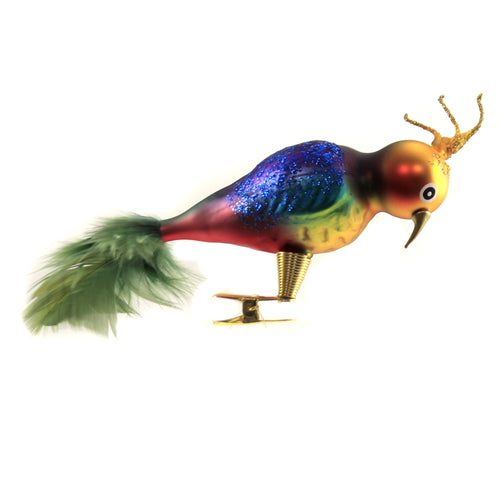 Multi-Colored Clip On Parrot Br512 Golden Bell Collection Glass Ornaments - SBKGIFTS.COM - SBK Gifts Christmas Shop Cincinnati - Story Book Kids