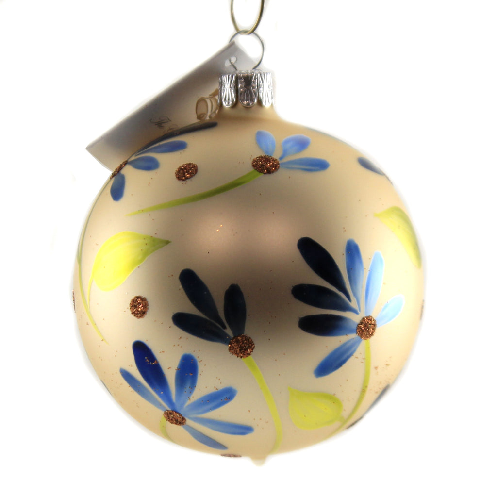 Champange Ball With Flowers Bm2087 Golden Bell Collection Glass Ornaments - SBKGIFTS.COM - SBK Gifts Christmas Shop Cincinnati - Story Book Kids