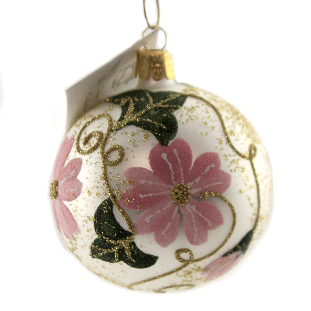 White Ball With Pink Flowers Bm1175 Golden Bell Collection Glass Ornaments - SBKGIFTS.COM - SBK Gifts Christmas Shop Cincinnati - Story Book Kids