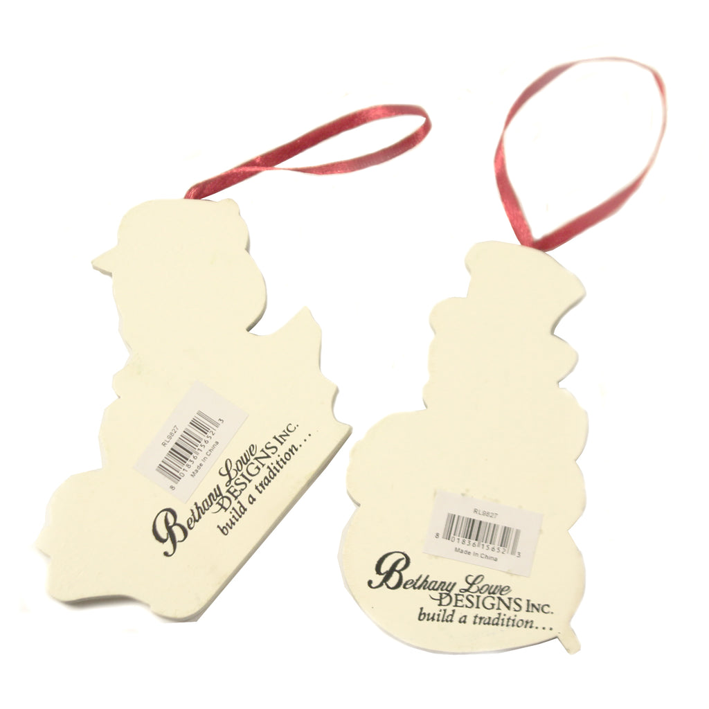 Playful Snowman Ornaments S/2 Rl9827 Christmas Wood Ornaments - SBKGIFTS.COM - SBK Gifts Christmas Shop Cincinnati - Story Book Kids
