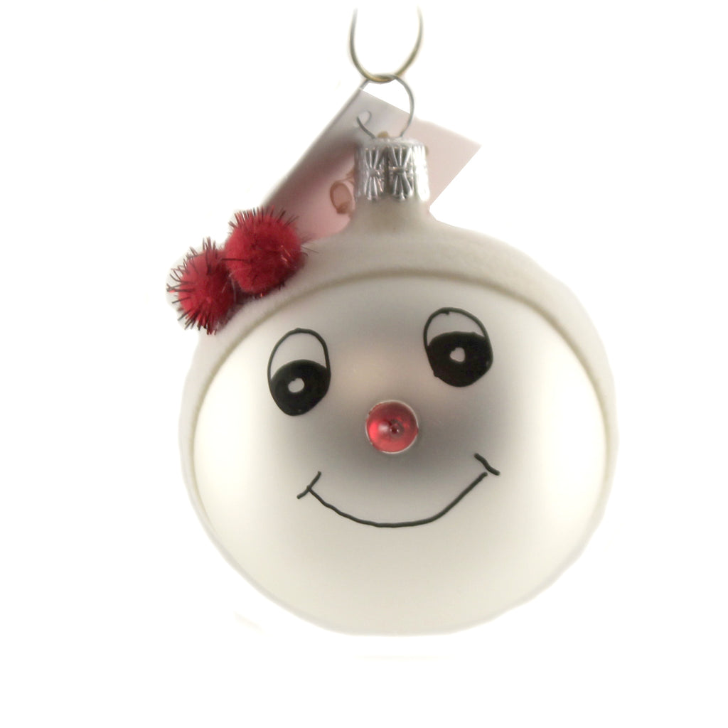Snowman With Red Pom Hat. Sn707b Golden Bell Collection Glass Ornaments - SBKGIFTS.COM - SBK Gifts Christmas Shop Cincinnati - Story Book Kids