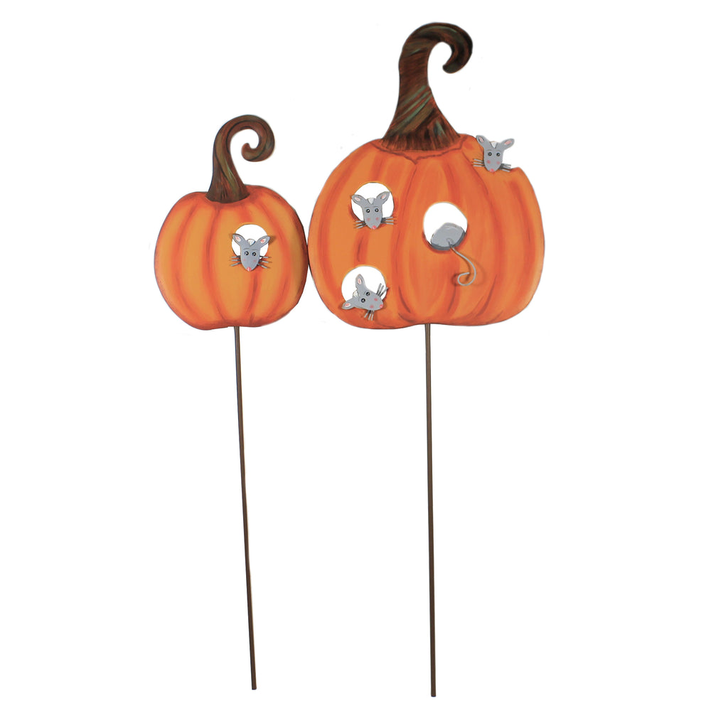Orange Pumpkins With Mice F20033 Halloween Decorative Stakes And Pokes And Plant Sticks - SBKGIFTS.COM - SBK Gifts Christmas Shop Cincinnati - Story Book Kids