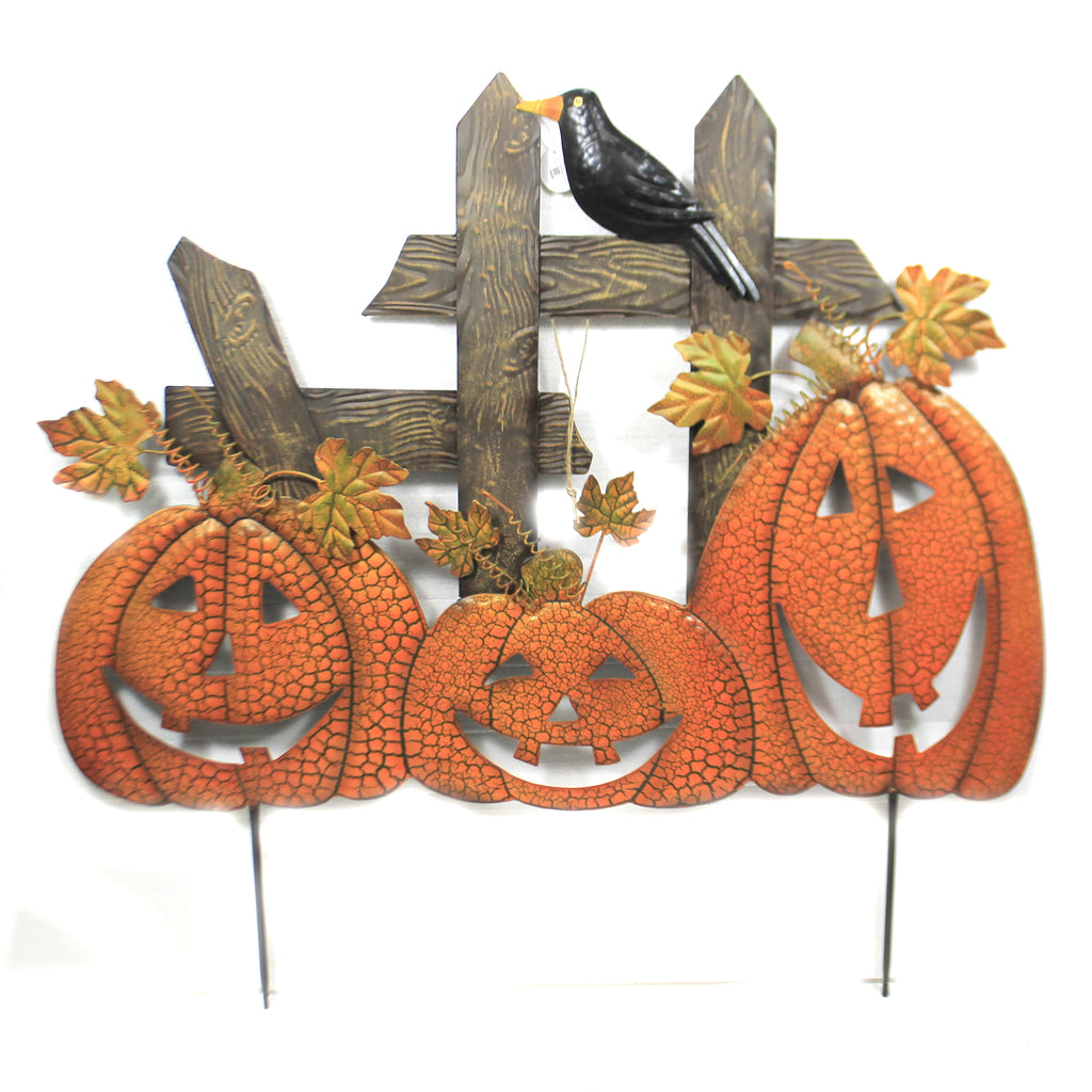 3 Pumpkins On Fence Stake 31833697 Home & Garden Decorative Stakes And Pokes And Plant Sticks - SBKGIFTS.COM - SBK Gifts Christmas Shop Cincinnati - Story Book Kids