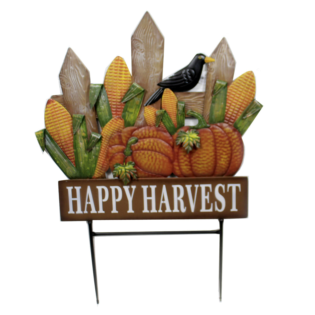 Fence W/ Pumpkins & Corn Stake 31833636 Home & Garden Decorative Stakes And Pokes And Plant Sticks - SBKGIFTS.COM - SBK Gifts Christmas Shop Cincinnati - Story Book Kids