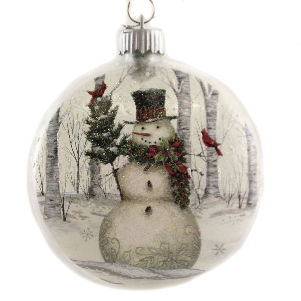 Snowman Disc Ornament 157807 Holiday Ornament Glass Ornaments - SBKGIFTS.COM - SBK Gifts Christmas Shop Cincinnati - Story Book Kids
