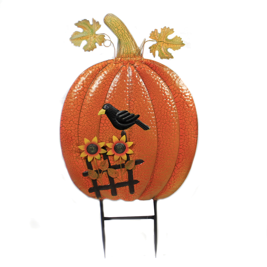 Pumpkin & Sunflowers Stake 31833684 Home & Garden Decorative Stakes And Pokes And Plant Sticks - SBKGIFTS.COM - SBK Gifts Christmas Shop Cincinnati - Story Book Kids