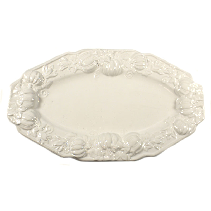 White Platter W/ Pumpkins 41600L Tabletop Plates And Platters - SBKGIFTS.COM - SBK Gifts Christmas Shop Cincinnati - Story Book Kids