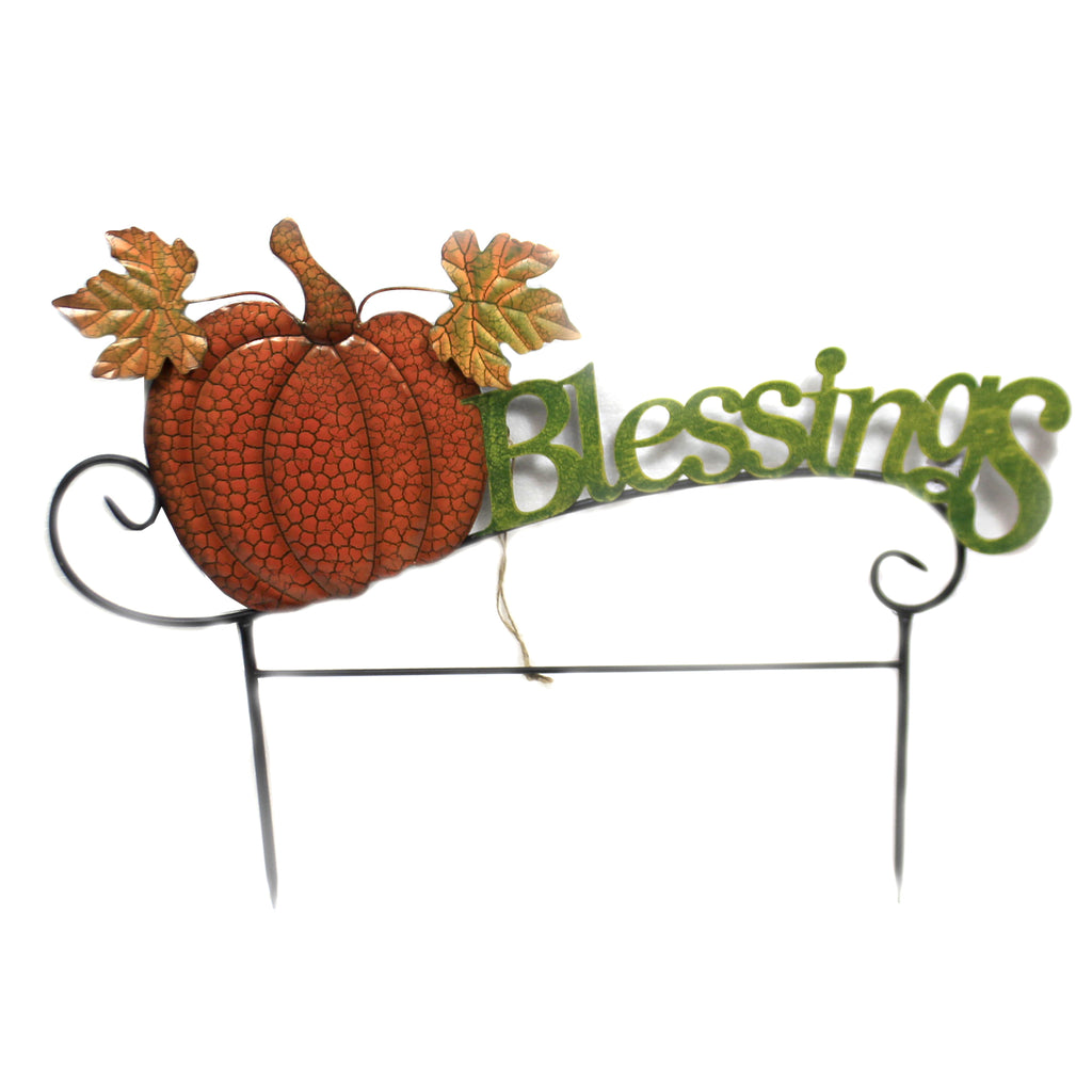 Blessings Pumpkin Stake 31833691 Home & Garden Decorative Stakes And Pokes And Plant Sticks - SBKGIFTS.COM - SBK Gifts Christmas Shop Cincinnati - Story Book Kids