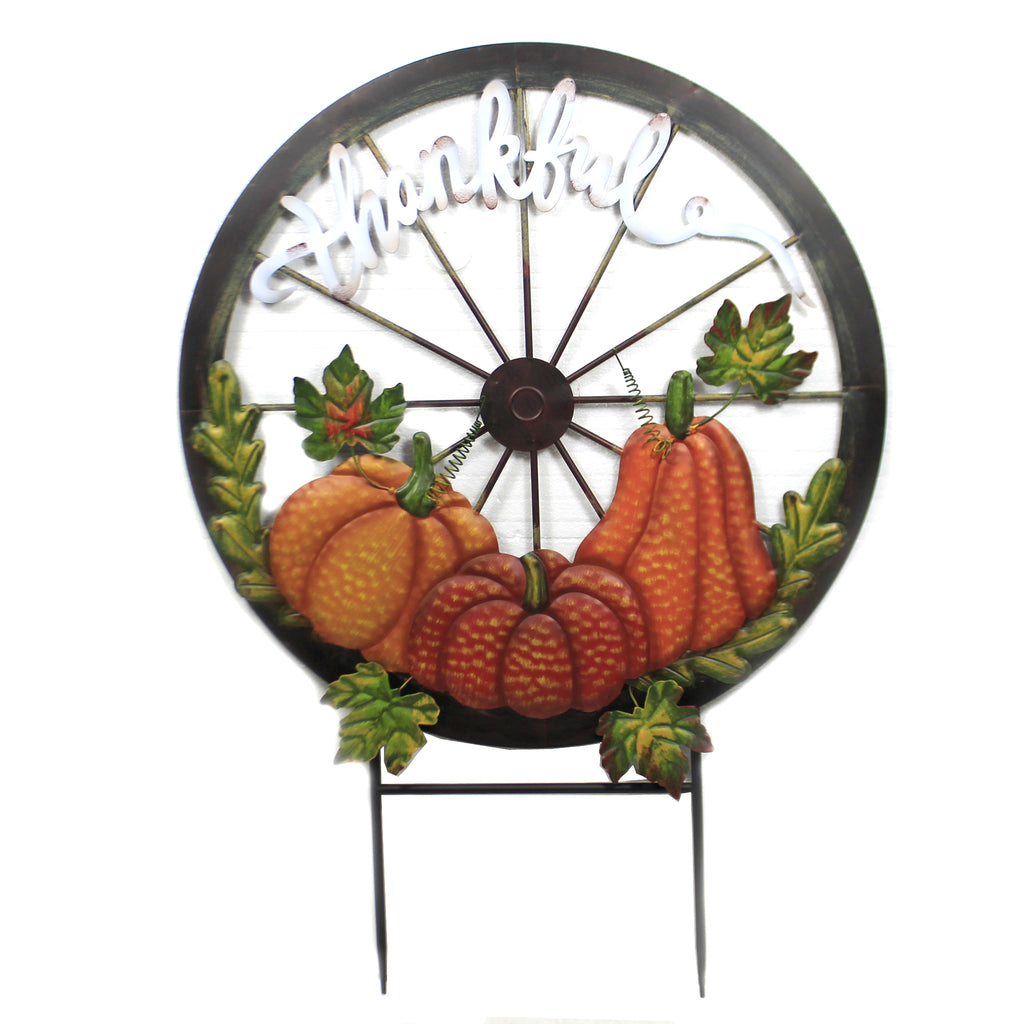 Large Round Thankful Stake 31833663 Home & Garden Decorative Stakes And Pokes And Plant Sticks - SBKGIFTS.COM - SBK Gifts Christmas Shop Cincinnati - Story Book Kids
