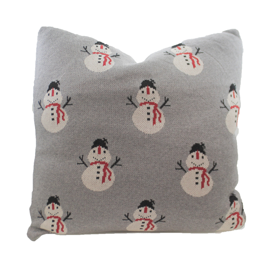 Gray Knit Pillow With  Snowman 53824A Christmas Decorative Pillows - SBKGIFTS.COM - SBK Gifts Christmas Shop Cincinnati - Story Book Kids