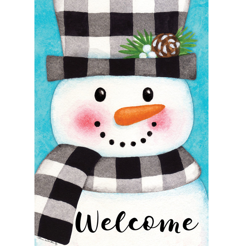 Gingham Snowman Flag 4426Fm Home & Garden Other Garden Decor - SBKGIFTS.COM - SBK Gifts Christmas Shop Cincinnati - Story Book Kids