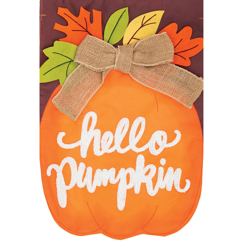 Hello Pumpkin Applique Flag 4494Fm Home & Garden Other Garden Decor - SBKGIFTS.COM - SBK Gifts Christmas Shop Cincinnati - Story Book Kids