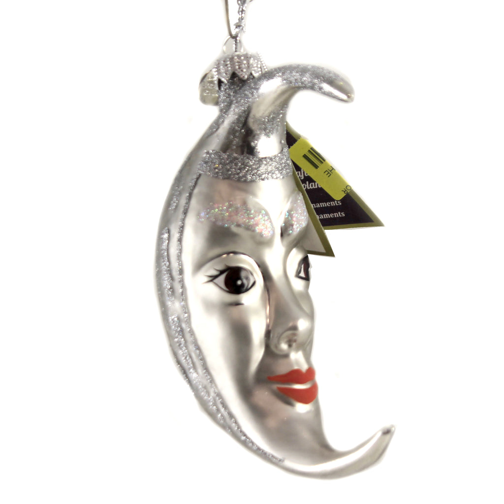Silver Man In The Moon 10200 . Morawski Glass Ornaments - SBKGIFTS.COM - SBK Gifts Christmas Shop Cincinnati - Story Book Kids