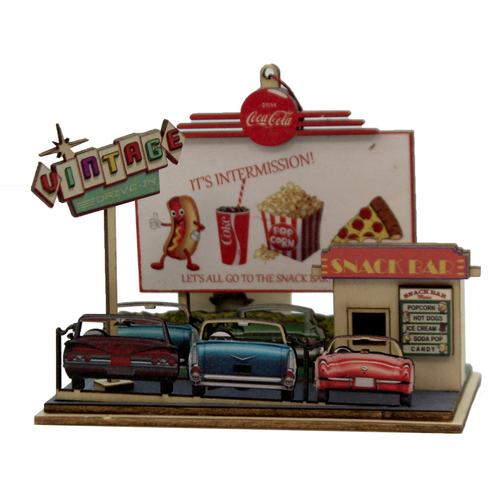 Drive In Theater 84000 Ginger Cottages Wood Ornaments - SBKGIFTS.COM - SBK Gifts Christmas Shop Cincinnati - Story Book Kids